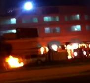 حريق في مواقف السيارات بمحكمة القطيف والإتهامات موجهة لمثيري الشغب في العوامية