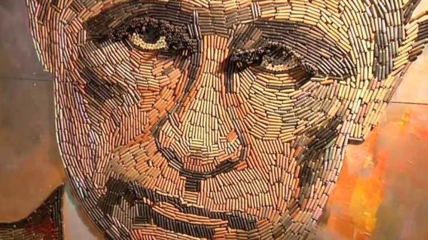 5000 رصاصة استُخدمت في أوكرانيا تزين وجه بوتين
