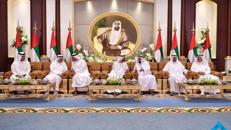 محمد بن راشد ومحمد بن زايد يستقبلان الحكام وأولياء العهود ونواب الحكام