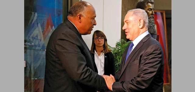 نتنياهو يعتبر زيارة شكري لإسرائيل دليلاً على تحسن العلاقات
