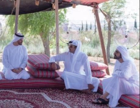 محمد بن راشد ومحمد بن زايد يلتقيان تميم بن حمد