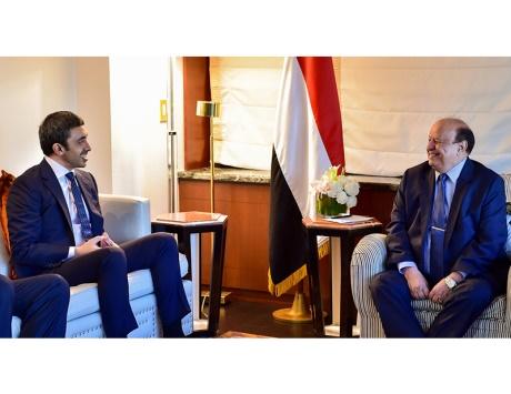 عبد الله بن زايد يبحث مع هادي مستجدات الوضع اليمني