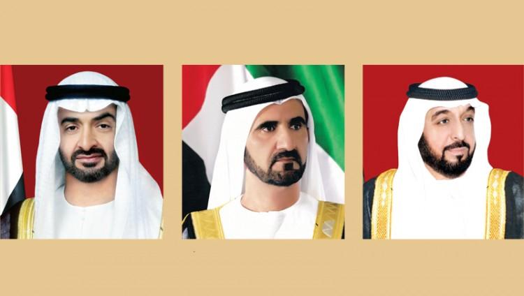 خليفة ومحمد بن راشد ومحمد بن زايد يتلقون برقيات تعزية من الملوك والقادة