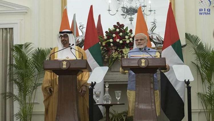 محمد بن زايد ومودي يشهدان توقيع اتفاقية الشراكة الاستراتيجية الشاملة