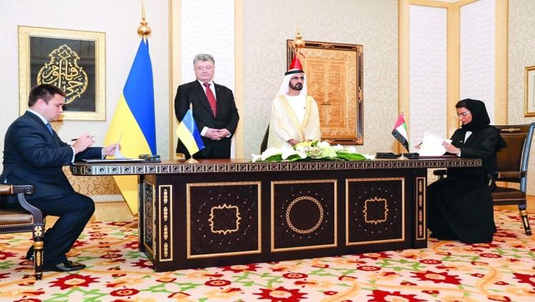 محمد بن راشد والرئيس الأوكراني يبحثان مجالات التعاون
