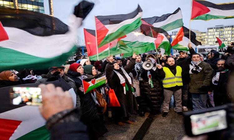 وقفة احتجاجية في بروكسل ضد زيارة نتنياهو