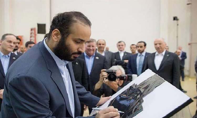 ماذا كتب محمد بن سلمان على القمر الصناعي السعودي؟