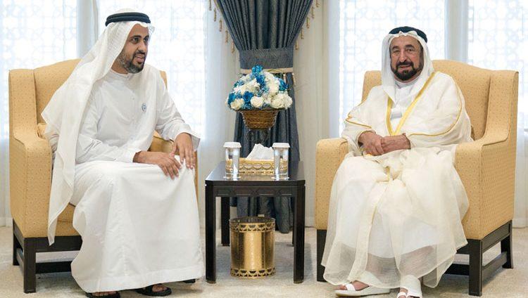 حاكم الشارقة يستقبل ذياب بن محمد بن زايد.. ويطلع على مشروع السكك الحديدية