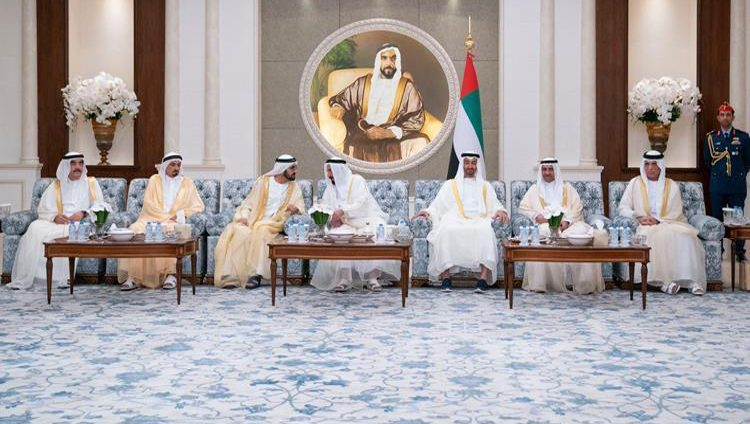 محمد بن راشد ومحمد بن زايد يستقبلان الحكام بمناسبة عيد الفطر