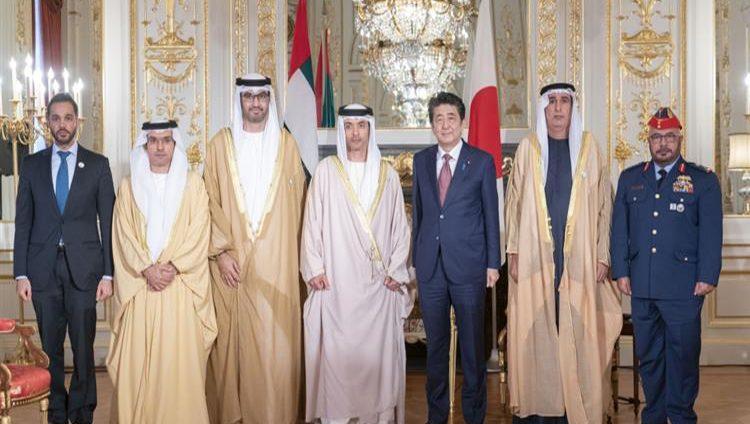 رئيس وزراء اليابان يستقبل هزاع بن زايد