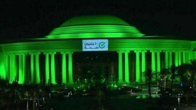 """مصر تحتفل بخلوها من فيروس """"سي"""" بإضاءة معالم أثرية بالأخضر"""