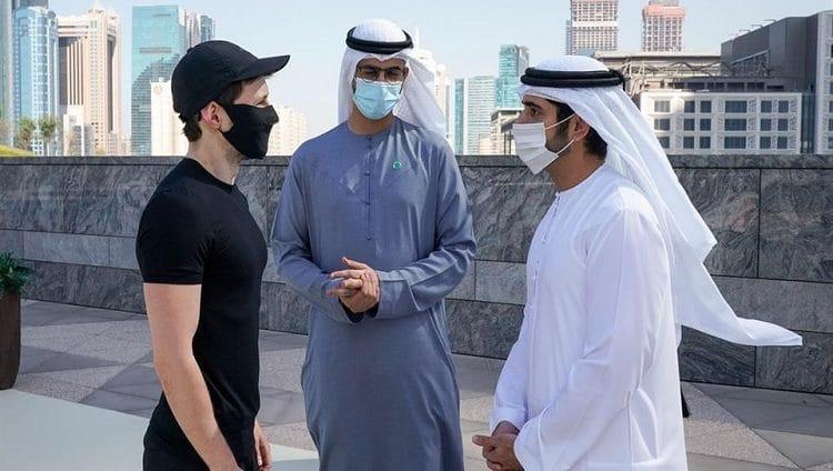 """حمدان بن محمد يستقبل مؤسس تطبيق """"تيليجرام"""" العالمي سموه يؤكد استمرار دبي في تطوير بيئتها الجاذبة للشركات العالمية الكبرى"""
