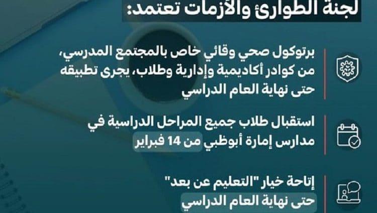 «الطوارئ والأزمات» في أبوظبي تعتمد بروتوكولاً صحياً لاستقبال طلبة المدارس